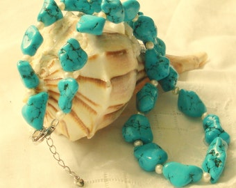 925 PEARL TURQUOISE NUGGET Necklace 20 inches
