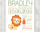 Personalized Birth Announcement PRINTABLE, Lion Nursery Print, Custom Baby Wall art, Baby name, New Baby gift, Baby shower gift