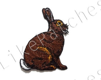 Brown Hare - Rabbit Cute Animal Print New Sew / Iron On Patch Embroidered Applique Size 6.4cm.x8.3cm.