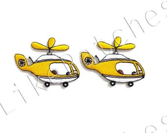 Set 2pcs. Yellow Helicopter New Sew / Iron On Patch Embroidered Applique Size 5.5cm.x4.2cm.