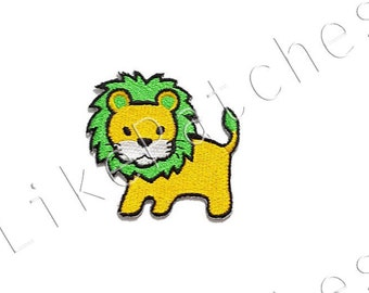 Yellow Lion Green Hair Cute Animal Cartoon Sew / Iron On Patch Embroidered Applique Size 5.5cm.x5.2cm.