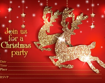 10 x CHRISTMAS Party Invitations