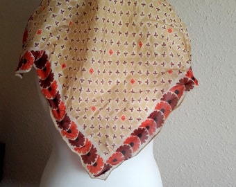 VIntage 60s earth tone floral head scarf