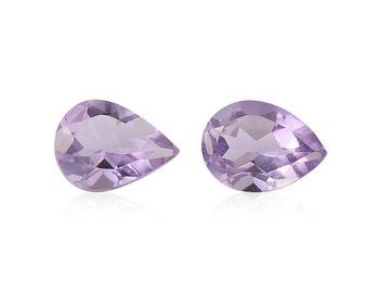 Pink Amethyst Pear Cut Set of 2 Loose Gemstones 1A Quality 8x6mm TGW 1.65 cts.