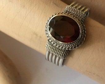 SALE! Vintage Etruscan Style Sterling Silver Garnet Ladies Ring