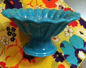 Handmade vintage turqouise pedastal bowl
