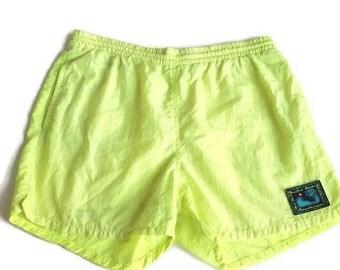FLASH SALE 20% OFF 90's Neon Lime Green Swim Trunks