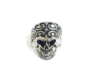 sALe 30% off Sterling Silver Skull Ring Size 13