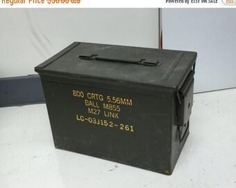 26% Through Feb 29 2 Military Metal Ammo Boxes Vintage Surplus 800 CRTG 5.56mm and 32 CRTG 40mm