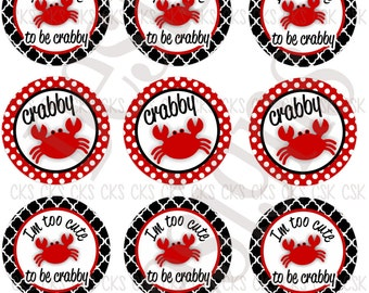 "1"" Digital Bottle Cap Sheet **INSTANT DOWNLOAD**  Cute And Crabby"