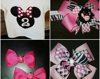 Minnie Mouse shirt with choice of bow