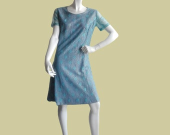 Vintage party dress 1960s, light blue and silver lace dress, S/M size, handmade