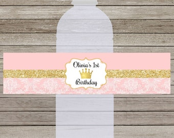 Royal Princess Pink and Gold, Water bottle labels, Digital file, Sized for a 16.9 ounce water bottle, Birthday Party, Personalized.