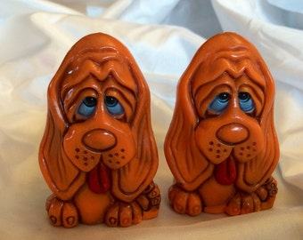 1970's Plastic Hound Dog Salt a d Pepper Shakers