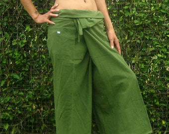 Fisherman Pants Wrap Yoga Pants Thai Fisherman Pants Wide Leg Pants Hippie Pants Thai Pants Burning Man Pantaloni Thai Calca Tai * green *LF