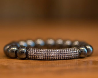 Addiction Clearing Hematite with Gunmetal Pave Bar