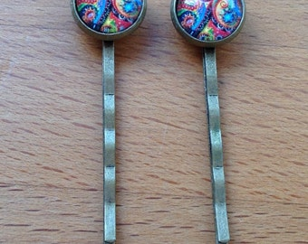 Antique brass bronze abstract colorful hair pins