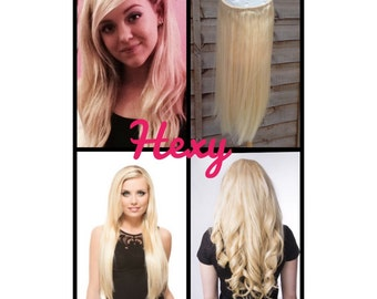 Halo hair extensions 18 or 24 flip in layered halo hair extensions flip in hair extensions 100g lightest blonde 60 not white pmusecretfo Choice Image