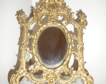 Antique Art Nouveau gilt cast iron oval table mirror – circa 1900
