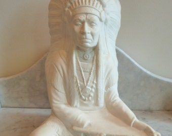 French Plaster statue of an American Native Chief signed Gignac