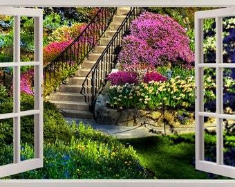 Garden View 3D Window Decal WALL STICKER Home Decor Art Mural Flowers