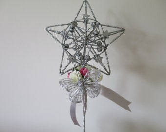 Flower girl wand - sparkly silver star with pink and white flowers and silver butterfly