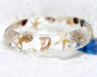 Resin bracelet, seashell, summertime bracelet, bangle resin starfish,  seashell jewelry, Resin starfish, faceted bracelet,  seashell bangle