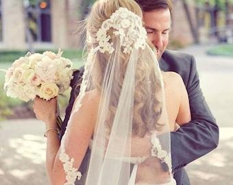 White Wedding Veil, Ivory Custom Bridal Veil, Headband, Boho Veil, Chapel Veils, Cathedral Veils, Ready to ship, Veils