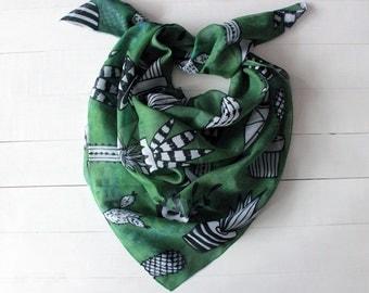 Christmas GIFT, Cactus scarf, Hipster scarf, succulent scarf, cactus bandana scarf, green cactus scarf, cactus gift for her, gift for mom