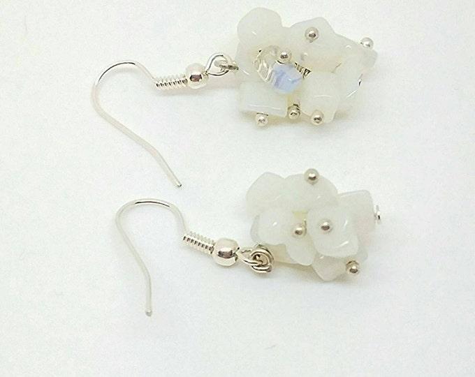 Clear white earrings, white earrings, white earring, white accessories, white bride earrings, dangly white earring, earrings white,