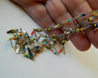 Tiny seed bead  and silver dangles-Necklace