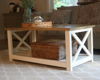 """Farmhouse Coffee Table """"X"""" Style Frame"""