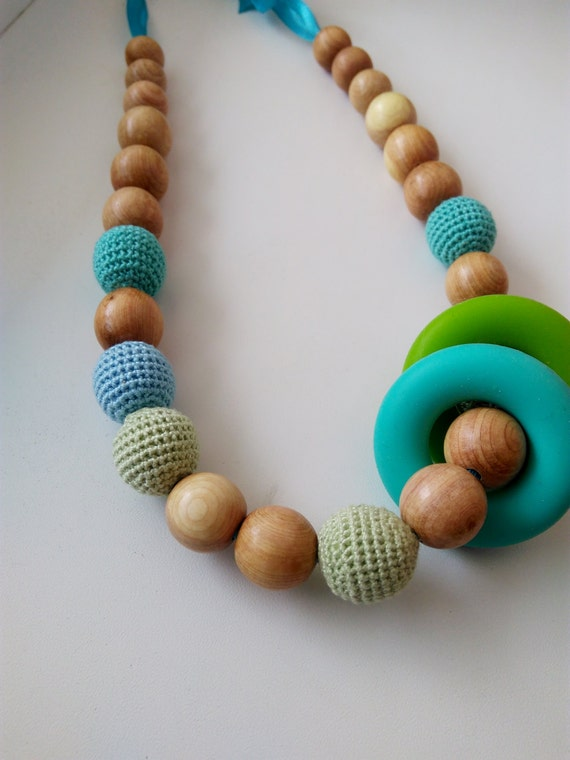 Necklace for feeding, with Teether, Silicone ring, teether ring,Nursing Necklace, Teether for babies, toy for a newborn,organic necklace