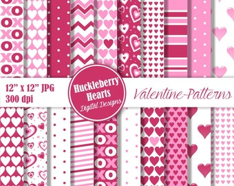 80% OFF SALE Valentine Paper, Valentine's Day Paper, Valentine Scrapbook Paper, Digital Heart Paper, Pink