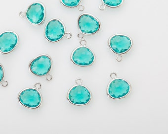 Blue Zircon Glass Frame Pendant  Polished Rhodium -Plated - 2 Pieces [G012601-PRBZ]
