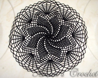 Hand Crocheted Black Spiral Web Doily for Halloween Home Decor | Black Centerpiece | Black Doily | Halloween Doily | Spider Web Doily