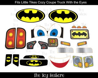 New Replacement Decals Stickers for Little Tikes Tykes Cozy Coupe Truck with Eyes:Batman plus logos
