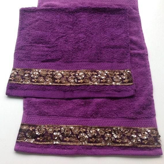 Purple Hand Towel Set Of 2 Decorative Bathroom Decor Gift
