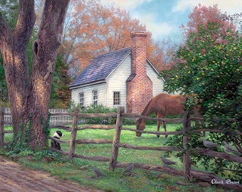 Folk Art Cottage Painting, Horses Art, Painting of Country Farmhouse, White House Art, Horse Painting, Old Countryside Home-3727
