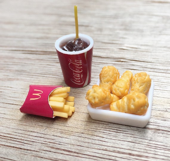 Miniature Coke Cup,French Fries &Chicken,Miniature Coke,Dollhouse Miniature,Miniature Food ,Miniature Chicken,Dolls house Food,Miniature
