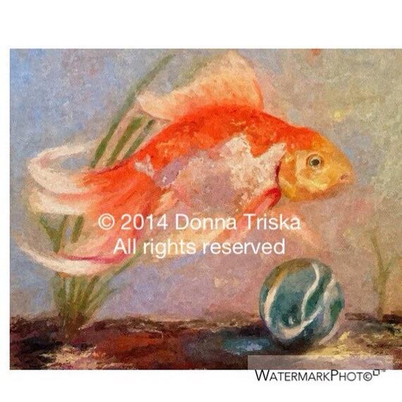 8x10 Fine art print of my original goldfish art, goldfish painting, orange and gold fish