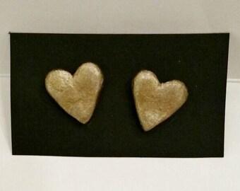 Gold heart studs