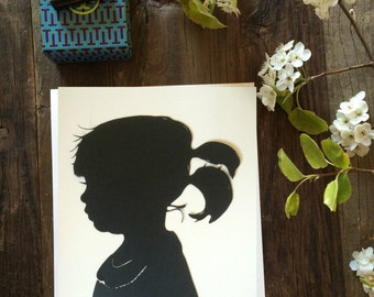 "Personalized Custom Hand Cut Silhouette Portrait Profile 5"" × 7"" Cameo"
