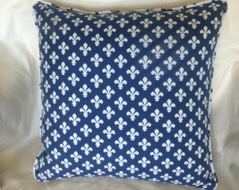 blue and white fleur de lis pillow