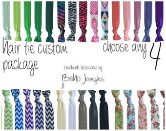 4 Custom Hair Ties, You Choose Mix, Pick 4 Stretchy Hair Ties, Ponytail, Stretch Bracelets, Hair Elastics, Chevron, 4 Elastic Ties (HR-09)