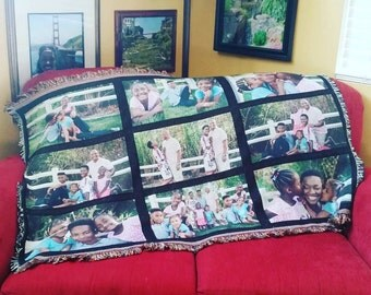 Personalized Father's Day Woven Photo Collage Throw Blanket Gift