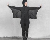 BAT ONESIE Halloween Costume for Men and Women - Blamo Animal Kigurumi - Black Bat - Unique Adult Costume One Piece Suit - Gift for Vampire