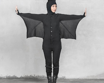 BAT ONESIE Festival Pajamas for Men and Women - Blamo Animal Kigurumi - Black Bat - Unique Adult Costume One Piece Suit - Gift for Vampire