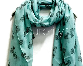 Vintage Bicycle Teal Green Scarf / Spring Summer Scarf / Women Scarves / Gifts For Her / Accessories / Handmade