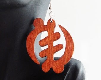Natural Wood Earrings  Gye Nyame Jewelry African Jewelry Adinkra Symbol dangle Supermacy of God Wood Earrings Afrocentric Jewelry Cute